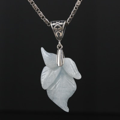 Sterling Silver Carved Beryl Pendant Necklace with Foliate Motif