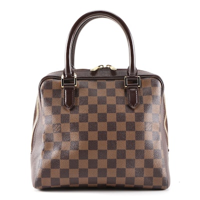 Louis Vuitton Brera Top Handle Bag in Damier Coated Canvas and Brown Leather