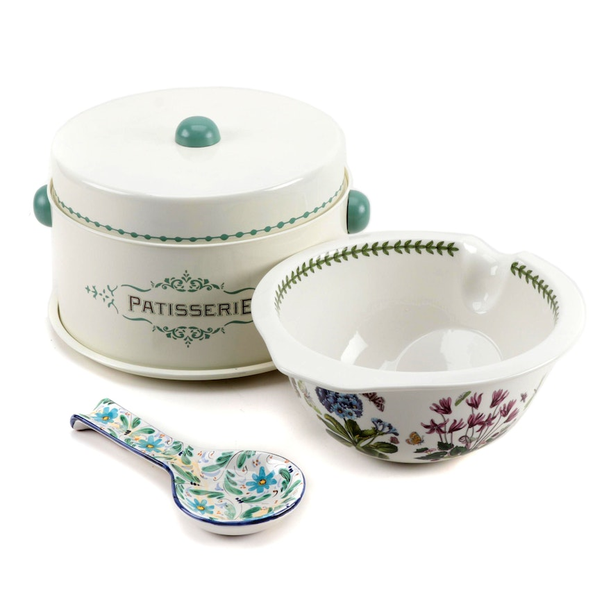"Portmeirion Large Gripstand ""Botanic Garden"" Ceramic Bowl with Patisserie"