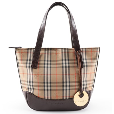 "Burberry ""Haymarket Check"" and Brown Saffiano Leather Mini Tote"