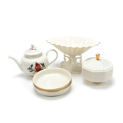 "Lenox ""Winter Greetings"" Teapot with Other Porcelain Table Accessories"