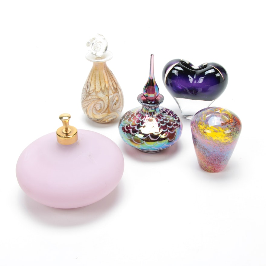 Rosenthal and Other Art Glass Perfume Bottles and Bud Vases