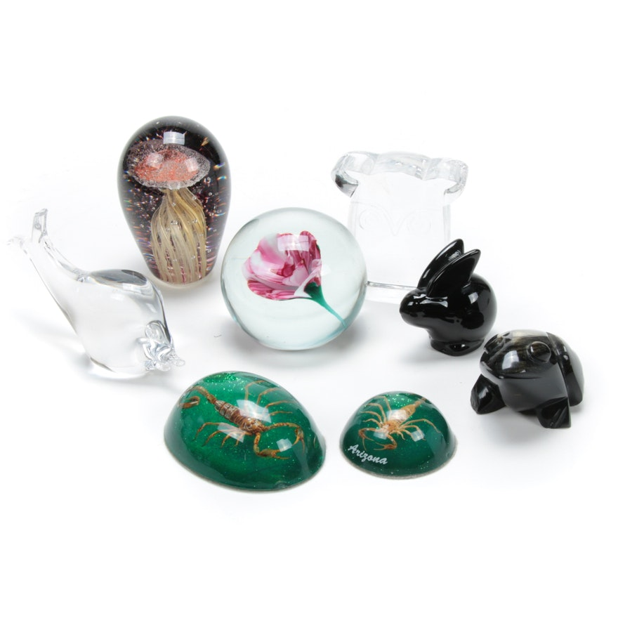 Kosta Boda, Oneida, and Other Figural Crystal and Glass Paperweights