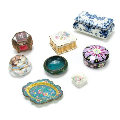 Decorative Porcelain Music Box and Vanity Boxes with Trinket Dishes