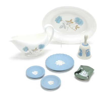 "Wedgwood Jasperware Plates and Bone China ""Ice Rose"" Serveware"