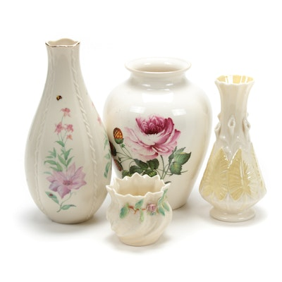 Belleek Porcelain Vases with Spode Ceramic and Lenox Bone China Vases
