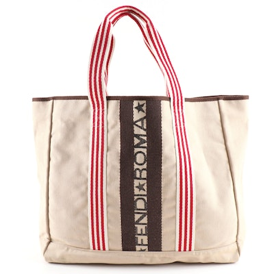 Fendi Roma Canvas Shopper Tote