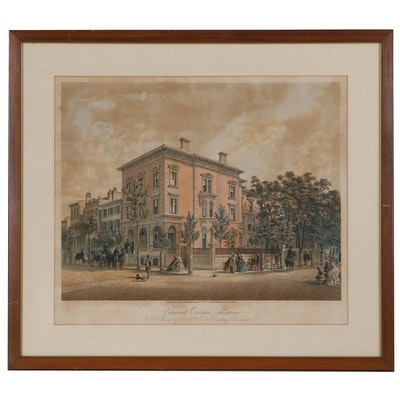 "Color Lithograph ""Edmund Dexter's Residence"""