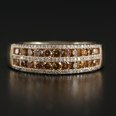 14K Gold Diamond Ring with Double Row of Channel Set Orange Brown Diamonds