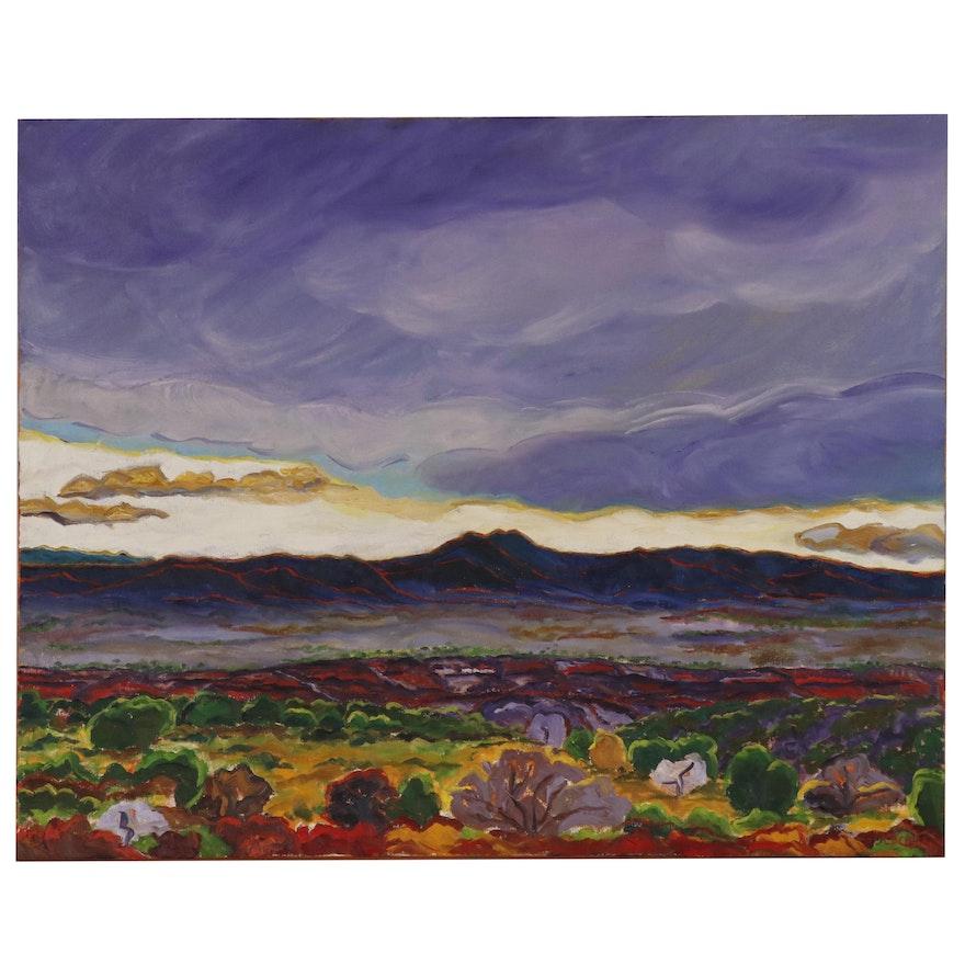 """Cynthia B. Crier Landscape Oil Painting """"Taos - Rio Grande Gorge @ Dusk"""""""