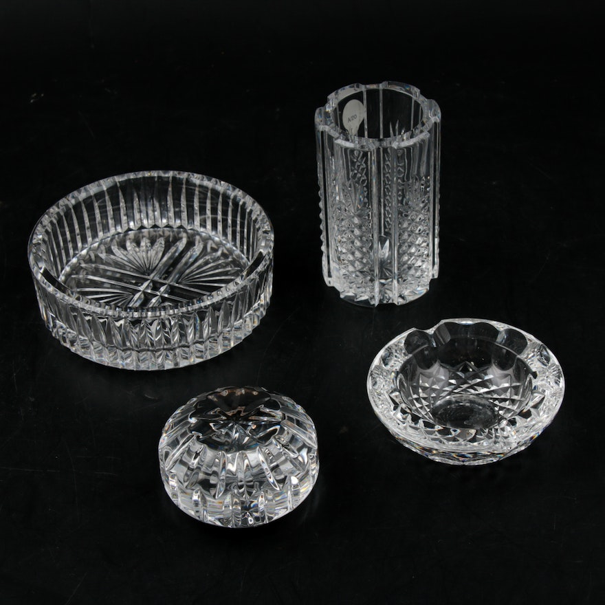Waterford Crystal Paperweight, Ashtrays and Pen Cup