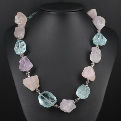 Rose Quartz, Amethyst and Glass Beaded Necklace