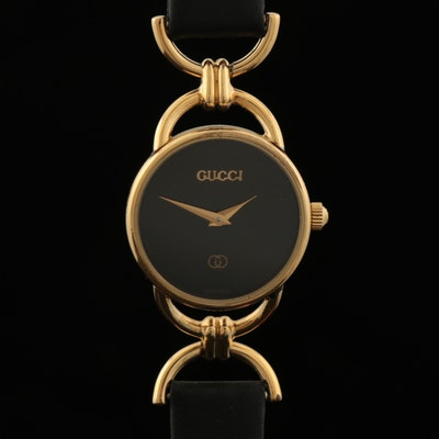 Gucci Goldtone Horsebit Wristwatch with Black Leather Band