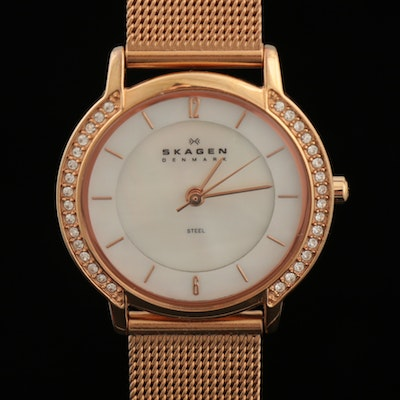 Skagen Rose Gold Tone Stainless Steel Wristwatch with Rhinestone Bezel