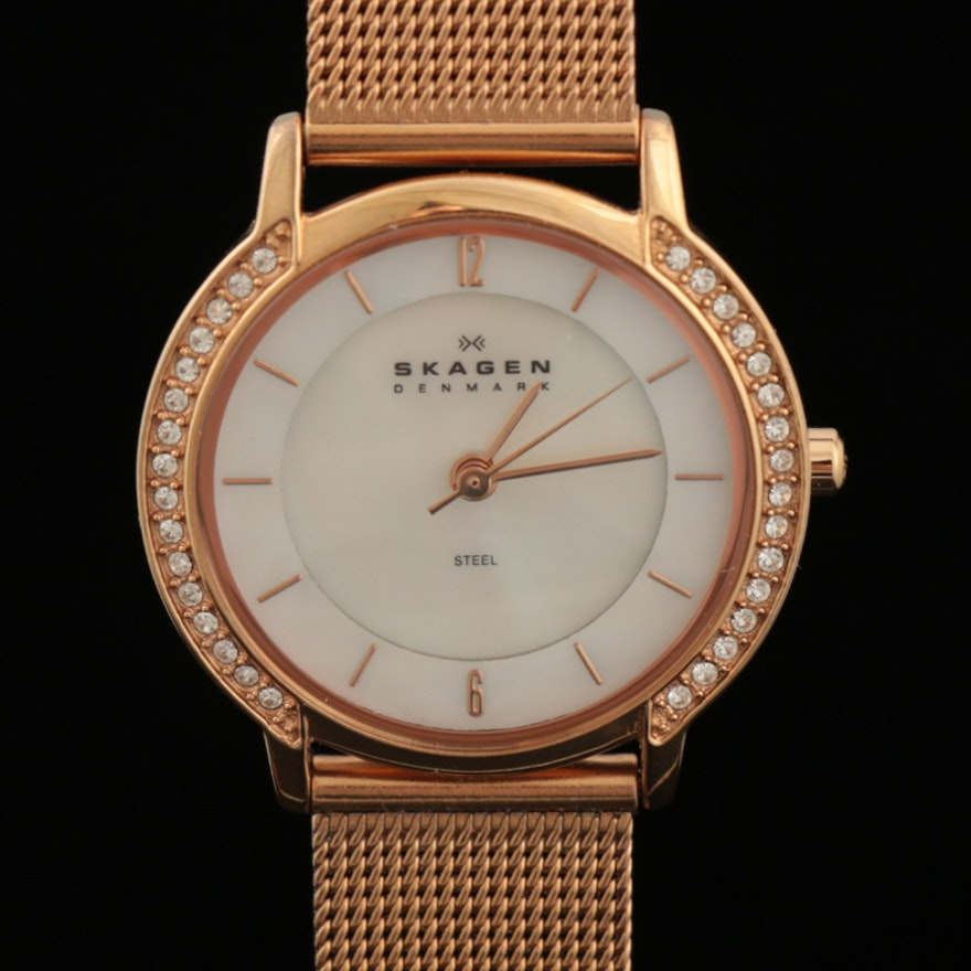 Skagen Rose Gold Tone Stainless Steel Wristwatch with Rhinestone Bezel