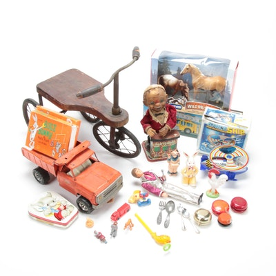 Wooden Tricycle, Diecast Metal Tonka, and Other Antique and Vintage Toys