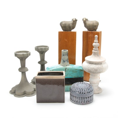 Eclectic Home Decor Including Vases, Candle Holders and Figurines
