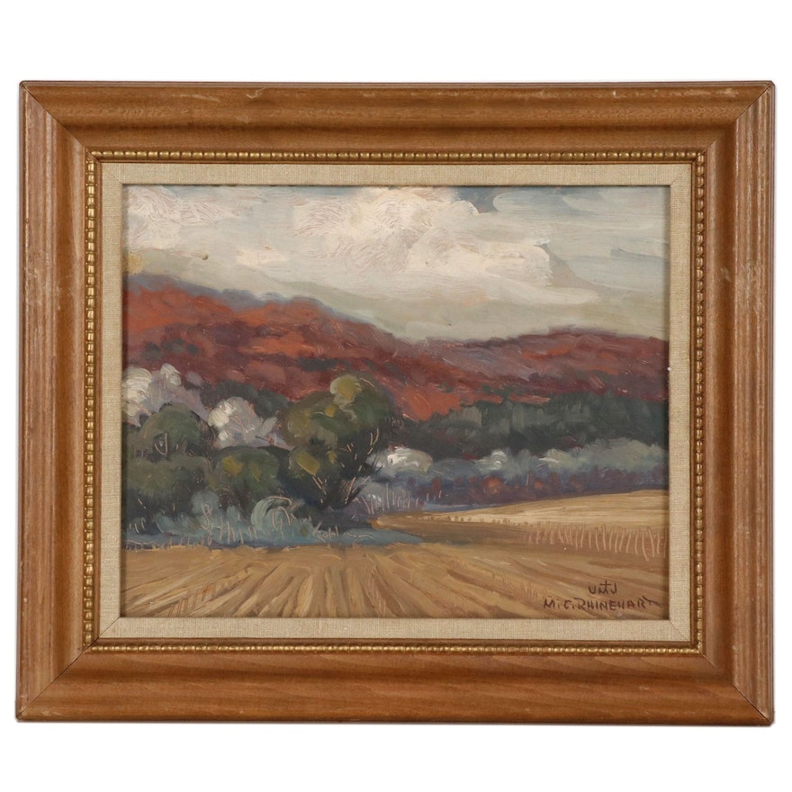 "M. Charles Rhinehart Landscape Oil Painting ""Hills in Color"""