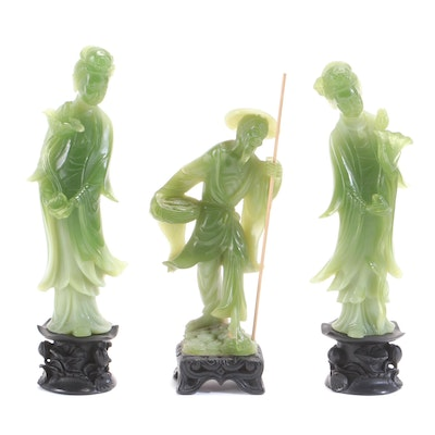East Asian Faux Jade Resin Guanyin and Elder Statues