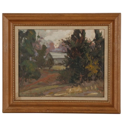"M. Charles Rhinehart Landscape Oil Painting ""The Barn"""