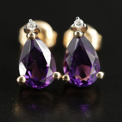 14K Gold Amethyst and Diamond Studs