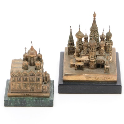Russian Brass-Tone Metal and Marble Miniature Cathedral Figurines, Late 20th C.