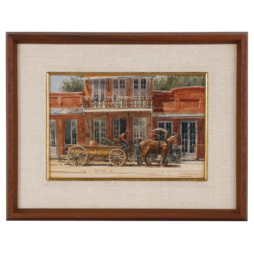 "James Kramer Watercolor Painting ""Conversation"""