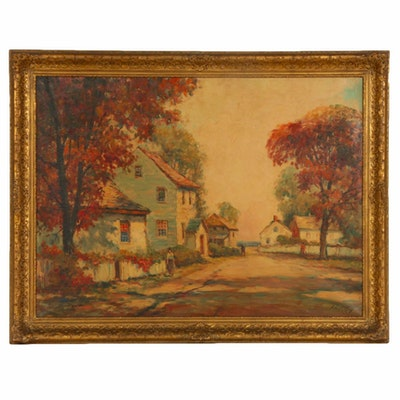 Frances H. McKay Village Scene Oil Painting