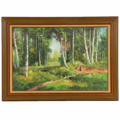 """Oil Painting after Ivan Ivanovich Shishkin """"Stream in a Birch Forest"""""""