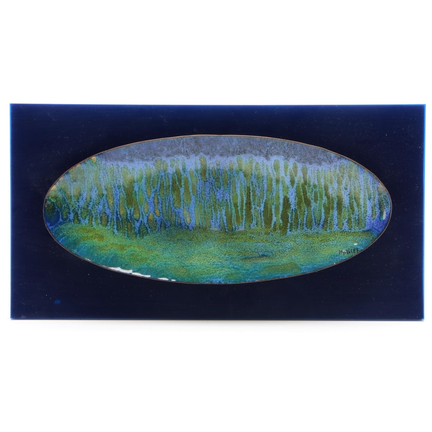 McNeff Abstract Landscape Enameled Copper on Acrylic Sculpture