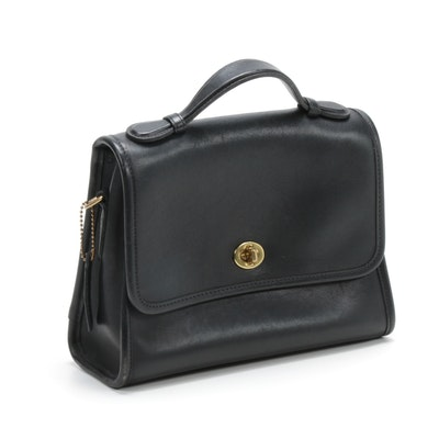 Coach Court Black Leather Handbag