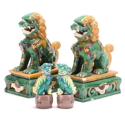 Chinese Sancai Glaze Ceramic Guardian Lions