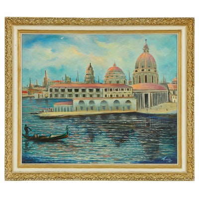 Venetian Harbor Scene Oil Painting