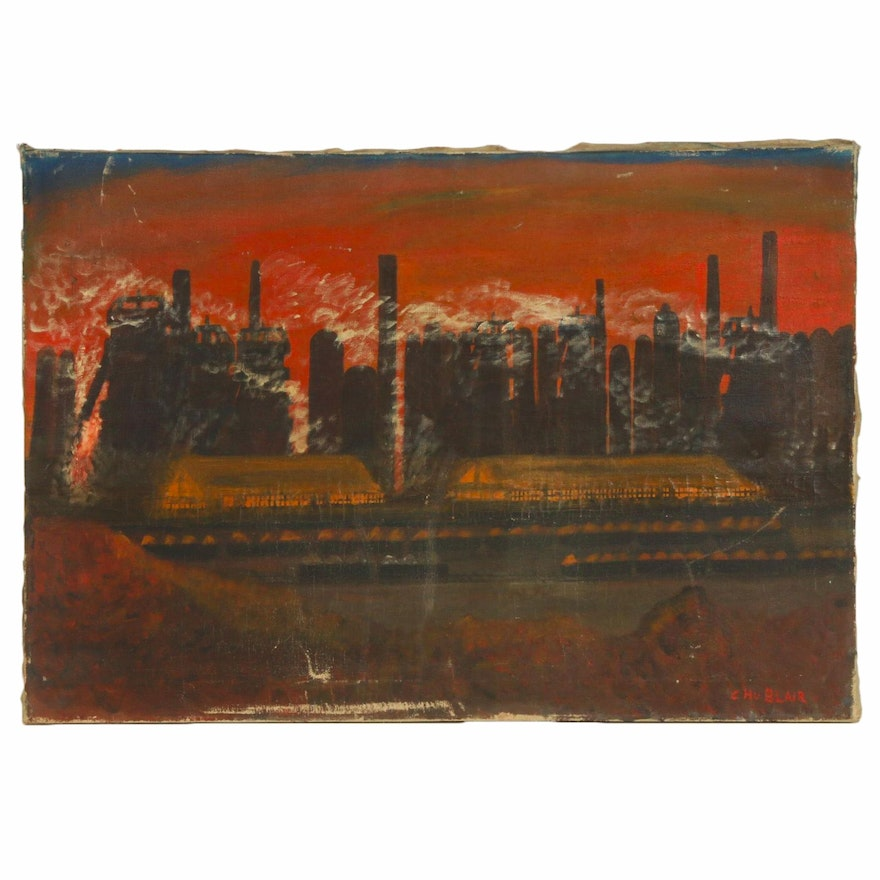 Cityscape at Dusk Oil Painting, Mid to Late 20th Century
