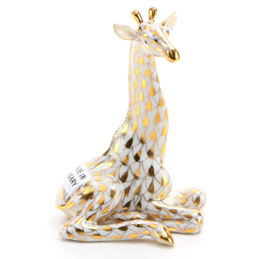 "Herend Guild Gold Fishnet ""Sitting Giraffe"" Porcelain Figurine, February 1999"