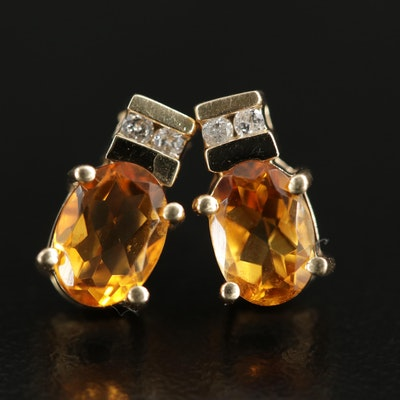 14K Gold Citrine and Diamond Stud Earrings