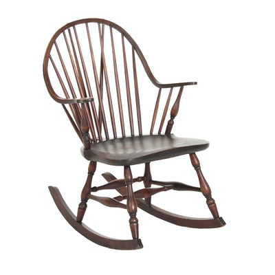 Windsor Style Mahogany-Stained Brace-Back Rocking Armchair