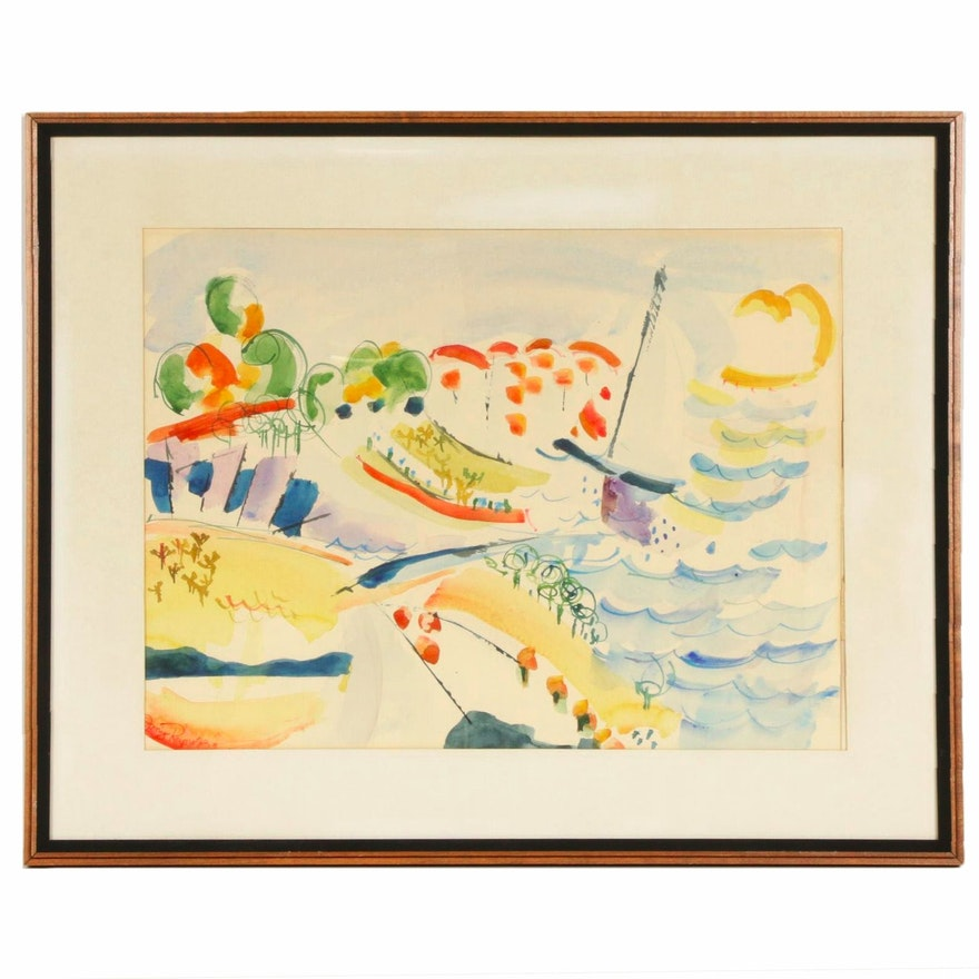 Jeny Reynolds Seascape Watercolor Painting, 1974
