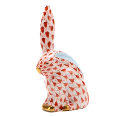 "Herend Rust Fishnet ""Miniature Rabbit with One Ear Up"" Porcelain Figurine"