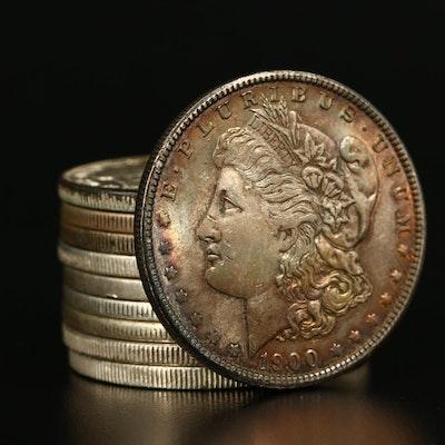 Ten Morgan Silver Dollars, 1878 to 1901