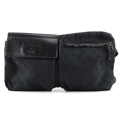 Gucci Belt Bag in Black GG Canvas and Textured Leather