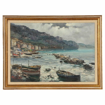 Ercole Magrotti Coastal Village Landscape Oil Painting, Mid-20th Century