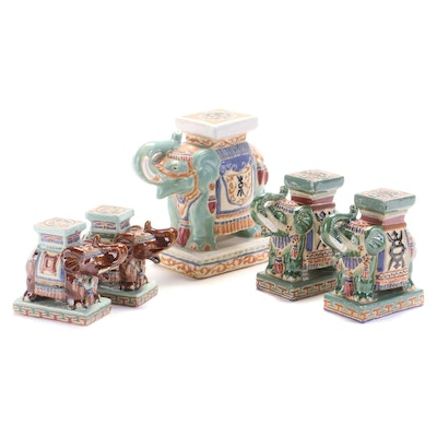 Vietnamese Ceramic Diminutive Elephant Garden Seats, 20th Century