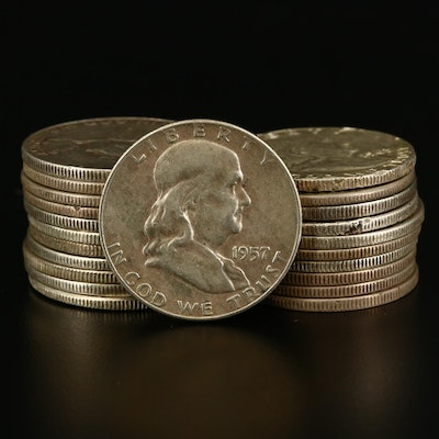 Twenty-Two Franklin Silver Half Dollars