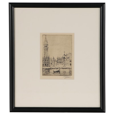 European Canal Scene Etching