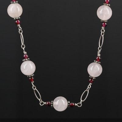 Sterling Silver Rose Quartz and Rhodolite Garnet Beaded Necklace
