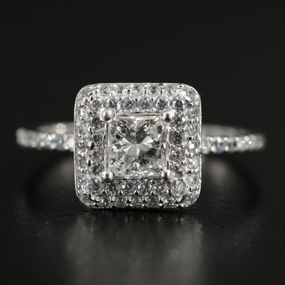 14K Gold Diamond, Synthetic White Sapphire and Cubic Zirconia Double Halo Ring