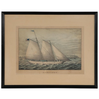 "Hand-Colored Lithograph ""Schooner"""