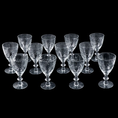 Set of Twelve Etched Floral Glass Water Goblets, Mid-20th Century