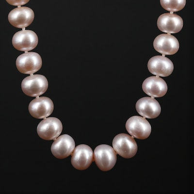Hand Knotted Pink Cultured Pearl Strand Necklace